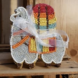 PIER 1 Glass beaded Llama coasters set of 4